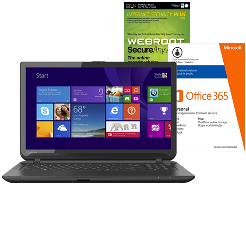 Toshiba Satellite C55DT-B5128 Touch-Screen Laptop, Internet Security Software & Microsoft Office Package
