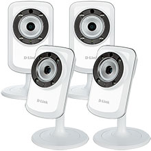 Four D-Link Day and Night Wi-Fi Security Cameras Package