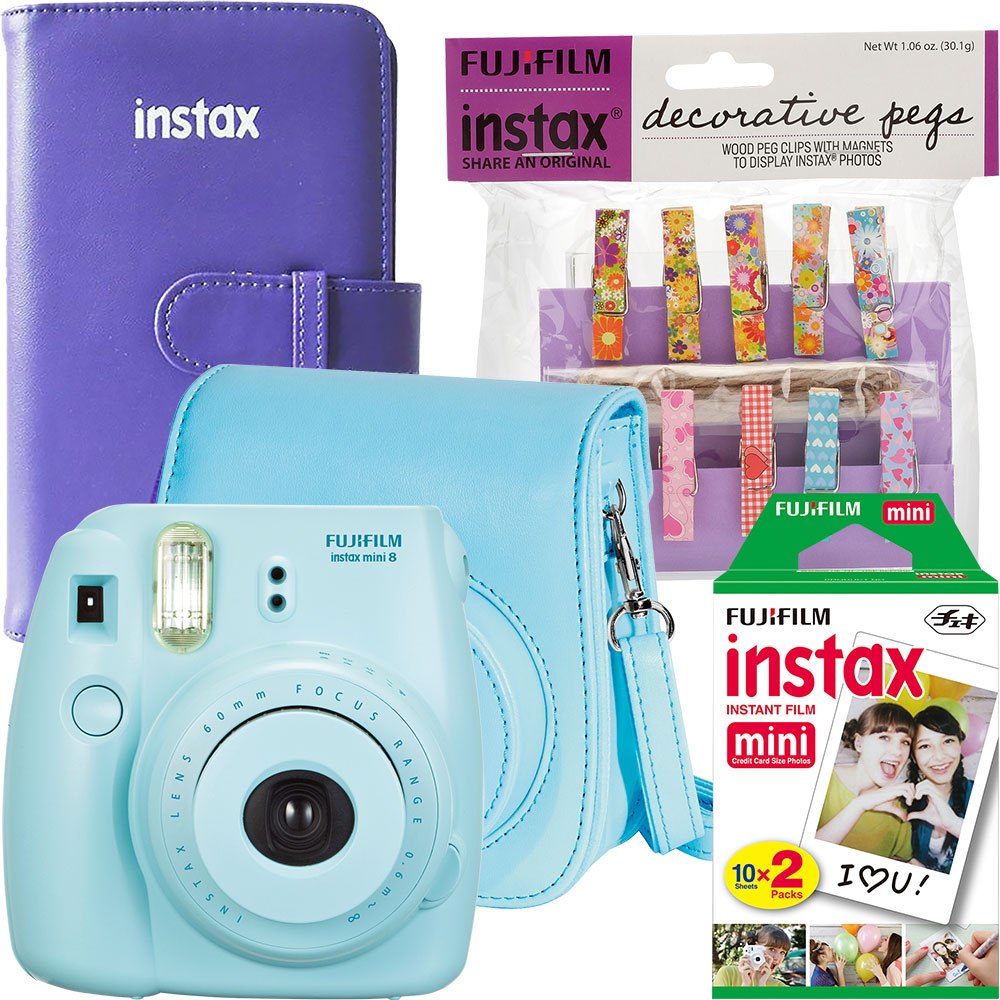 Fujifilm instax mini 8 Camera, Instant Color Film (2-Pack), Camera Case, Wallet Photo Album & Decorative Pegs
