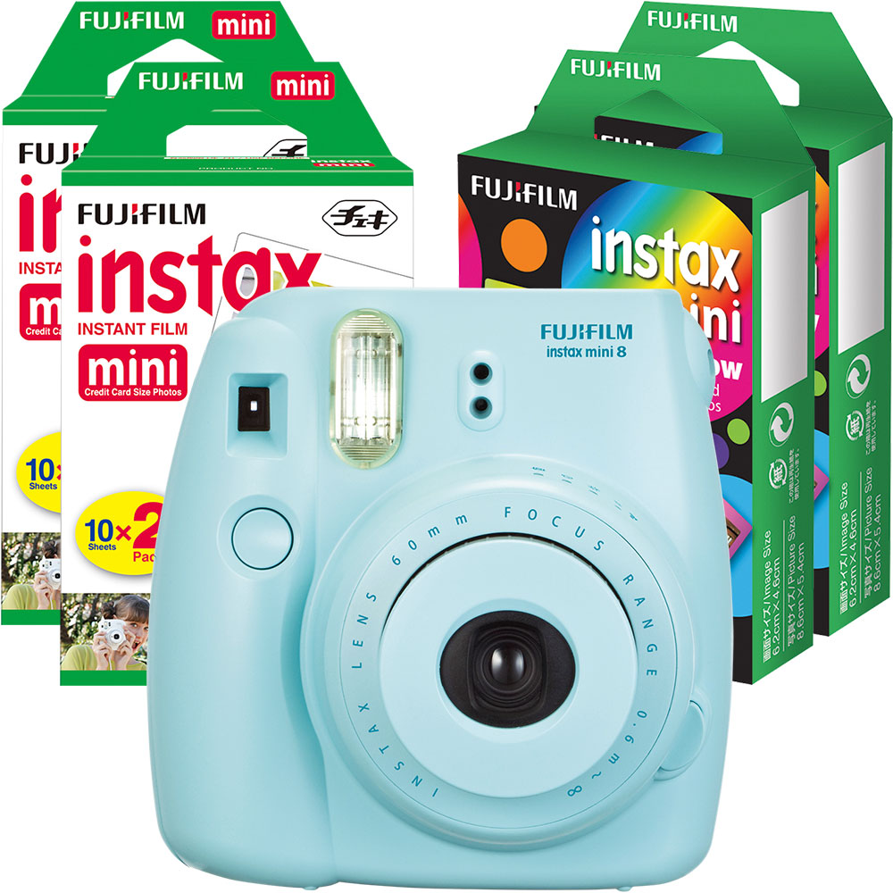 Fujifilm instax mini 8 Camera, Instant Color Film (4-Pack) and instax mini Rainbow Instant Film (2-pack)