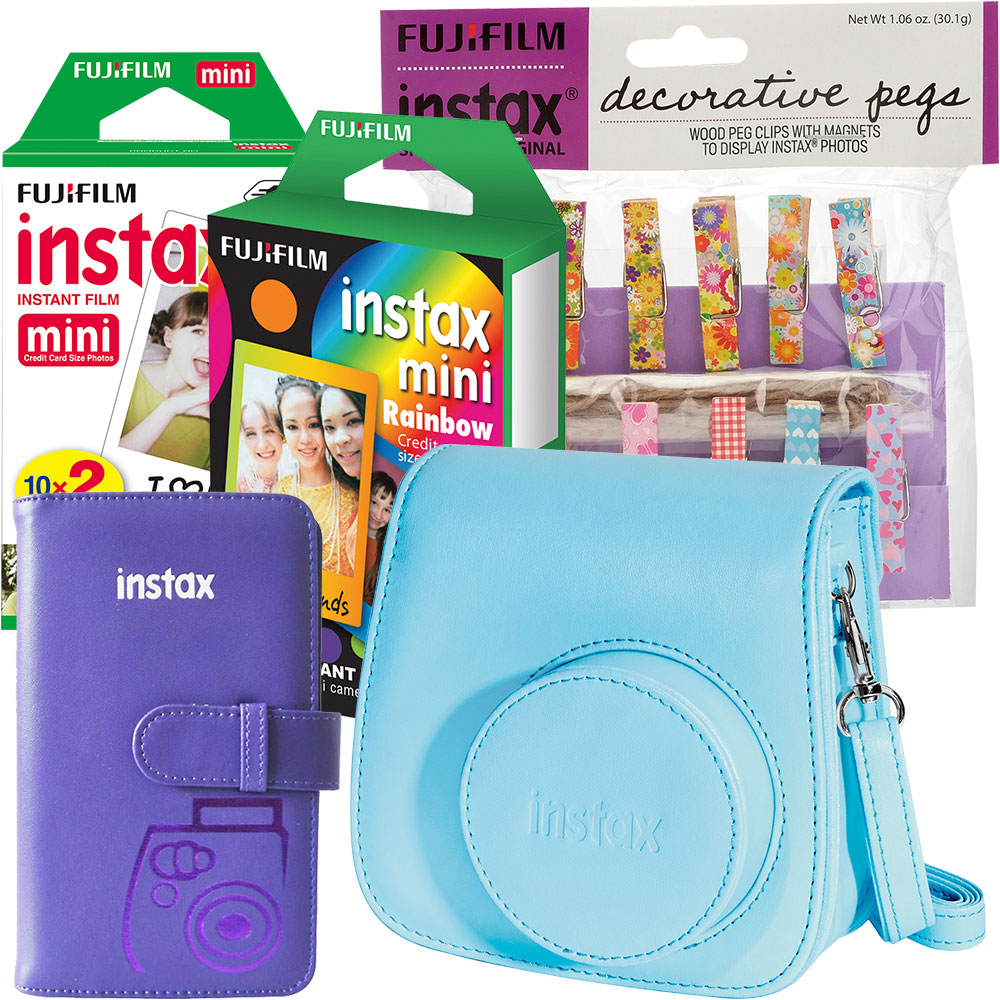 instax mini Instant Color Film (2-Pack), Rainbow Instant Film, Camera Case, Photo Album & Decorative Pegs