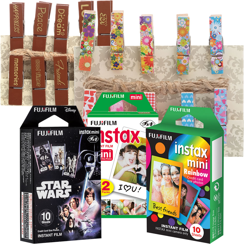 instax mini Instant Color Film (2-Pack), Rainbow  Film, Star Wars Film, Decorative Pegs & Sentiment Pegs