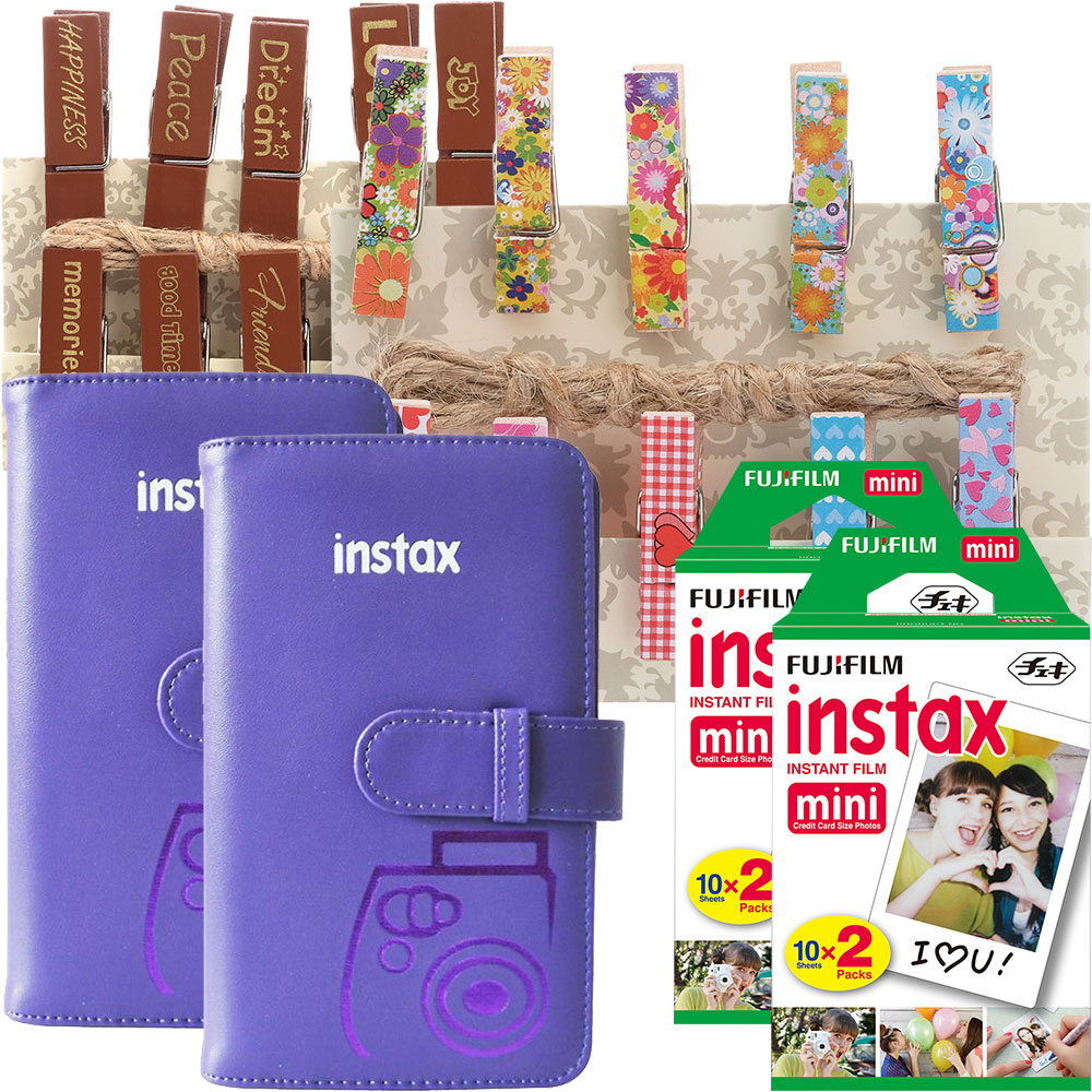 Fujifilm instax mini Instant Color Film (4-Pack), Two Wallet Photo Albums, Decorative Pegs & Sentiment Pegs