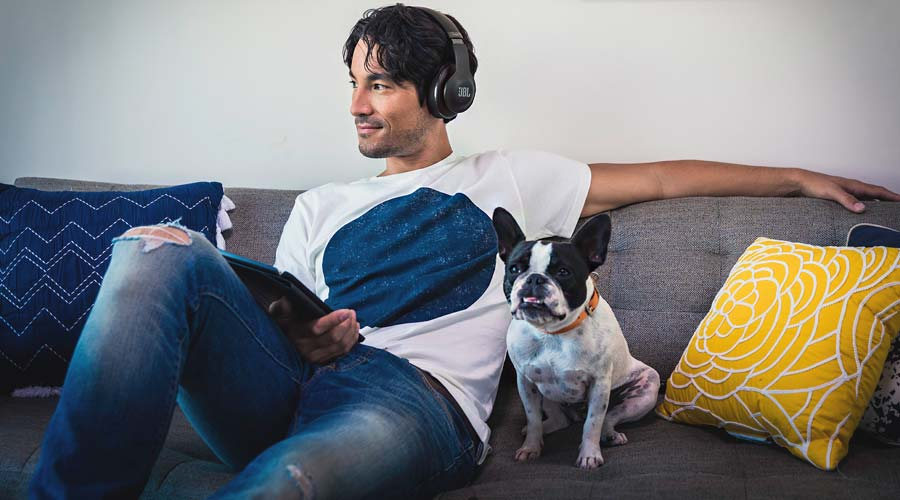 Person, dog, headphones