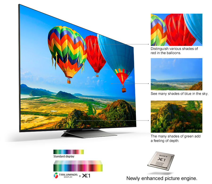 TV with hot air balloons, Distinguish various shades of red in the balloons, See many shades of blue in the sky, The many shades of green add a feeling of depth, Newly enhanced picture engine
