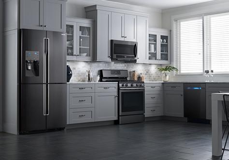 Fingerprint-Resistant Black Stainless Appliances