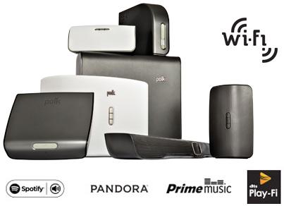 Spotify, Pandora, Prime Music, Play-Fi