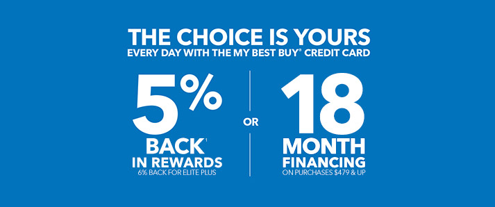 THE CHOICE IS YOURS EVERY DAY WITH THE MY BEST BUY® CREDIT CARD 5% BACK¹ IN REWARDS OR 12 MONTH FINANCING ON PURCHASES $479 & UP