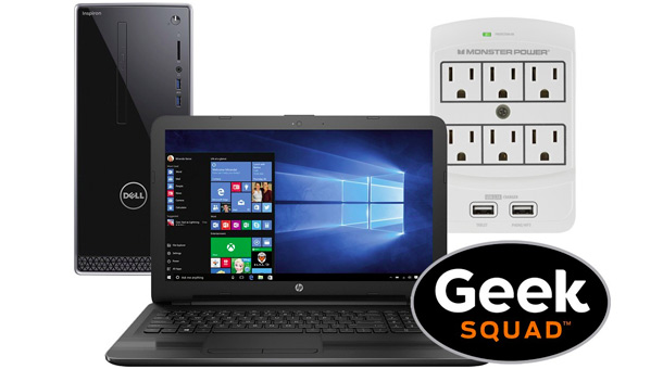 Laptop, desktop, surge protector, Geek Squad