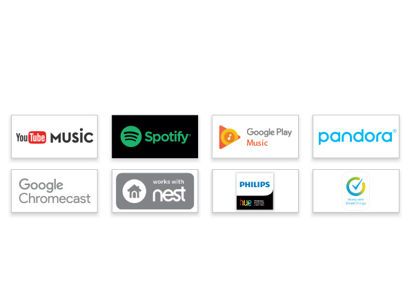 YouTube music, Spotify, Google Play music, Pandora, Google Chromecast, Works with nest, Philips hue, Works with Smart things