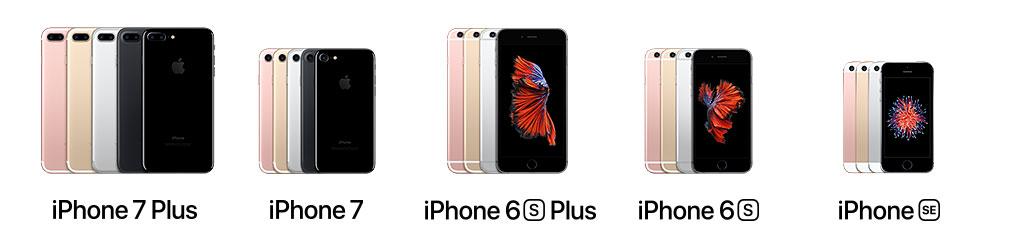 iPhone 7 plus, iPhone 7, iPhone 6 s plus, iPhone 6 s, iPhone s e