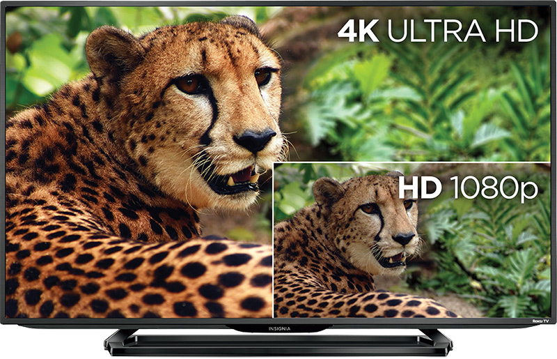 TV with image in 4K Ultra HD and HD 1080p