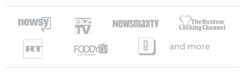 Newsy, Biz TV, News Max TV, The Outdoor Cooking Channel, RT, Foody TV, and more