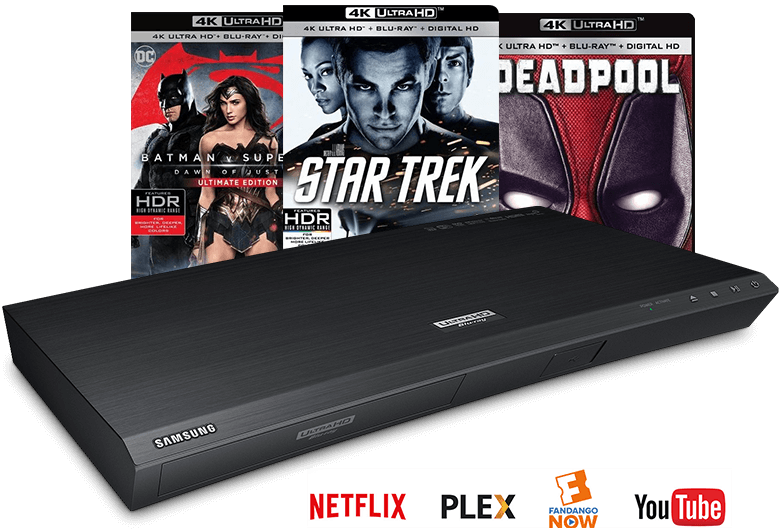 Blu-ray player and discs, Netflix, Plex, Fandango Now, YouTube