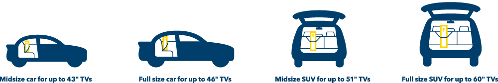 Cars, Midsize car for up to 42 inch TVs, Full size car for up to 46 inch TVs, Midsize SUV for up to 51 inch TVs, Full size SUV for up to 60 inch TVs