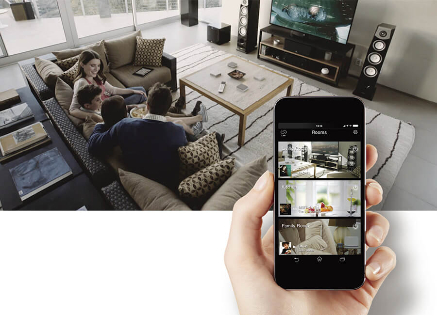 Home theater, hand with mobile device, MusicCast, wireless multiroom audio