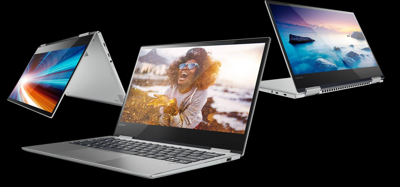 Lenovo 2-in-1 laptops in laptop, tent and display modes