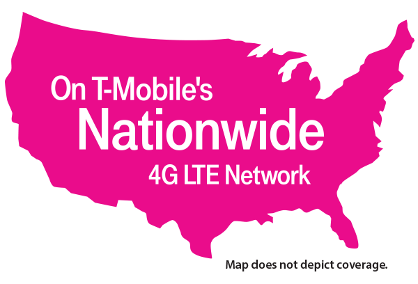U S map, on T Mobile's nationwide 4G LTE network