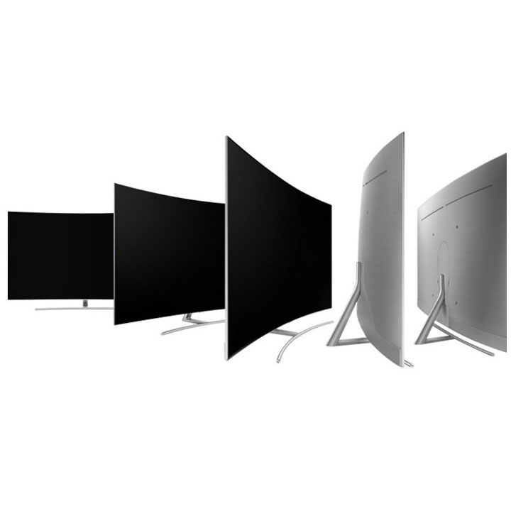Array of TVs showing curved profile