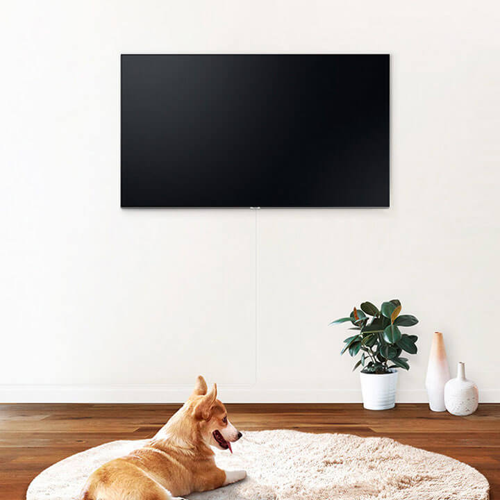 Home theater with illustration of invisible connection