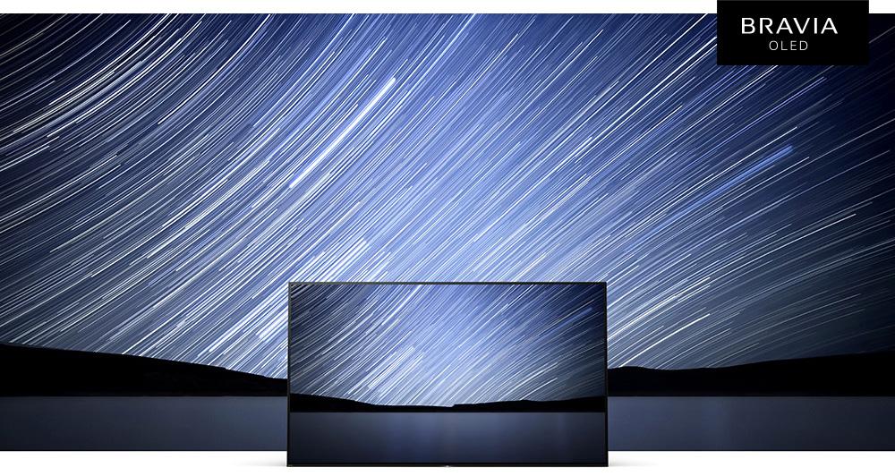 TV, night sky with stars, BRAVIA OLED