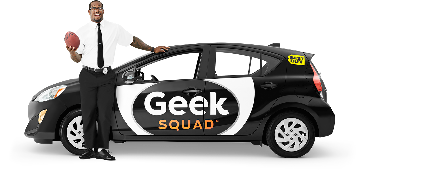 Geek Squad Agent in car