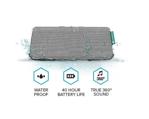 Speaker, water drops, waterproof, battery, 40 hour battery life, musical note, 360 degree, true 360 degree sound