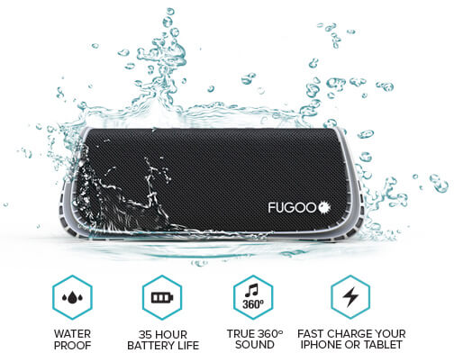 Speaker, water drops, waterproof, battery, 35 hour battery life, musical note, 360 degree, true 360 degree sound, lightning bolt, fast charge your iPhone or tablet