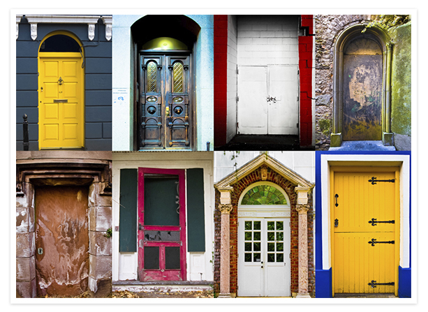 Photos of colorful doors