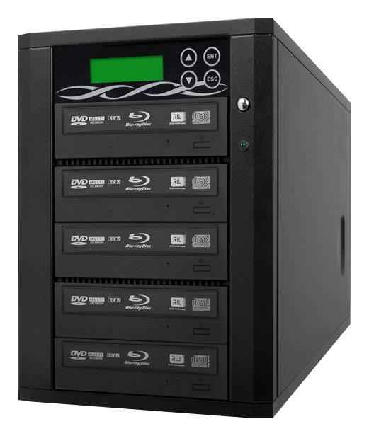 Spartan - 5-Target Copy Blu-ray/DVD/CD Duplicator with 500GB Hard Drive - Black