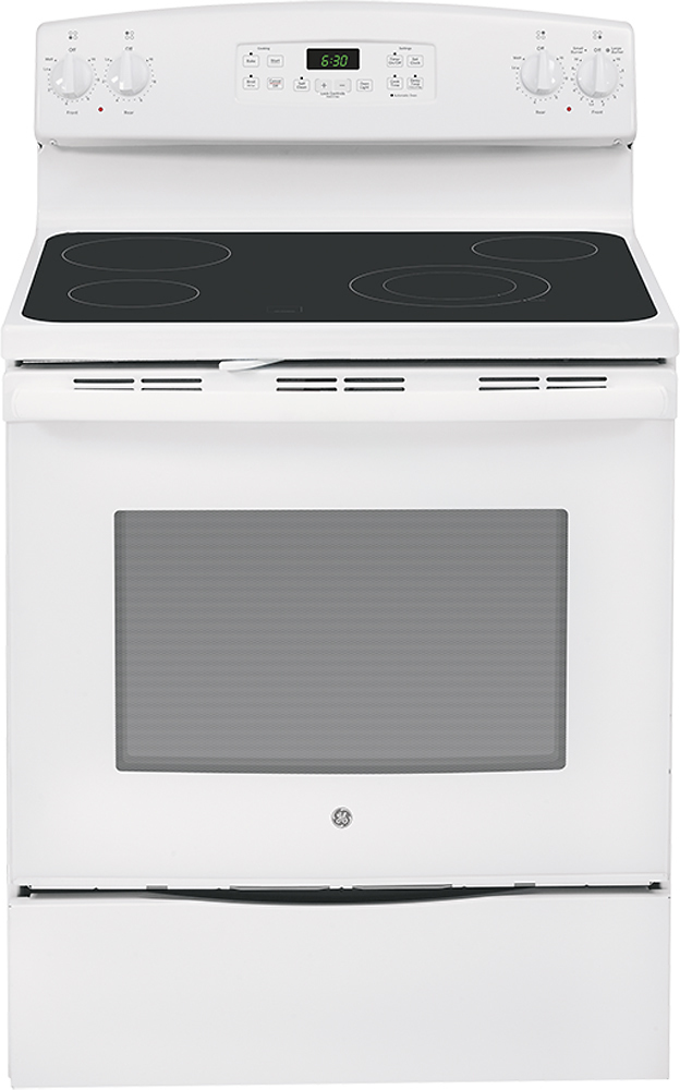 """GE 30"""" Self-Cleaning Freestanding Electric Range White-on-White JB630DFWW"""