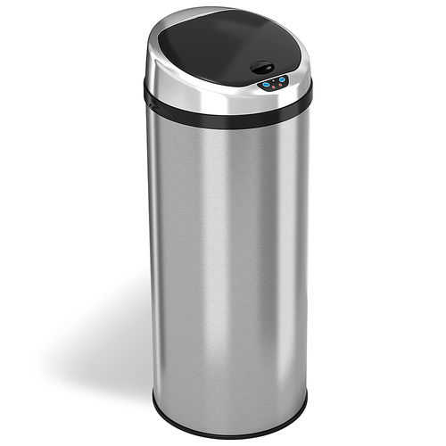 iTouchless - 13-Gal. Round Touchless Trash Can - Stainless Steel 1662161