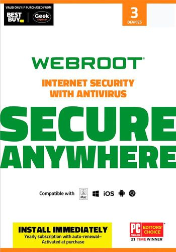Webroot SecureAnywhere Internet Security (3-Device) (1-Year Subscription) - Mac|Windows