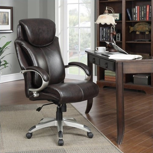 Serta - AIR Health & Wellness Big & Tall Executive Chair - Roasted Chestnut/Brown