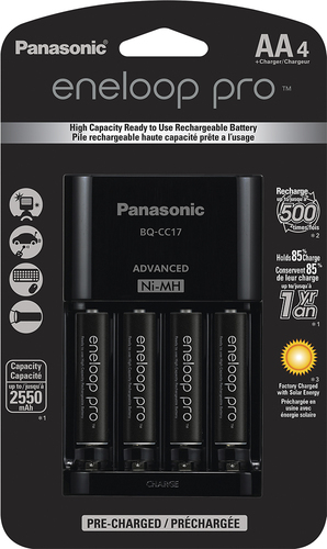 Panasonic -  Advanced  Individual Battery Charger with eneloop pro AA batteries 4-Pack - Black Compatible with eneloop pro rechargeable NiMH AA and AAA batteries; charges up to 4 AA or  AAA batteries; auto shutoff; overload protection; retractable AC plug