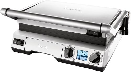 Breville - the Smart Grill Indoor BBQ Grill and Sandwich Press - Brushed Stainless Steel 2 Sq. ft. Cooking Area