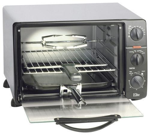 Elite Cuisine - 0.8 Cu. Ft. 6-Slice Toaster Oven Broiler - Black 1857204