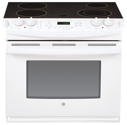GE - 4.4 Cu. Ft. Self-Cleaning Drop-In Electric Range - White