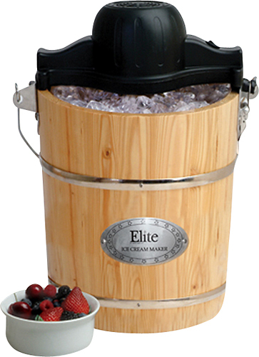 Elite Gourmet - 6-Quart Old-Fashioned Ice Cream Maker - Black/Wood 2613758
