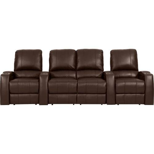 Octane Seating - Magnolia Straight 4-Seat Power Recline Home Theater Seating with Middle Loveseat - Brown