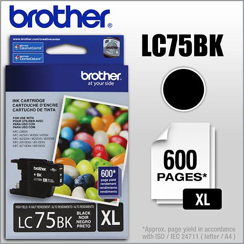 Brother - LC75BK XL High-Yield...