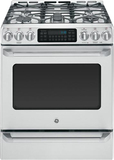 """GE Cafe 30"""" Self-Cleaning Freestanding Gas Convection Range Stainless Steel CGS985SETSS"""