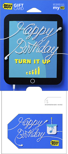Best Buy GC - $75 Birthday Turn It Up Gift Card Perfect gift card? Piece of cake. All Best Buy gift cards are shipped free and are good toward future purchases online and in U.S. or Puerto Rico Best Buy stores. Best Buy gift cards do not have an expiration date.