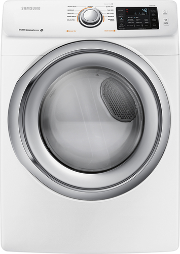 Samsung - 7.5 Cu. Ft. 11-Cycle Electric Dryer with Steam - White