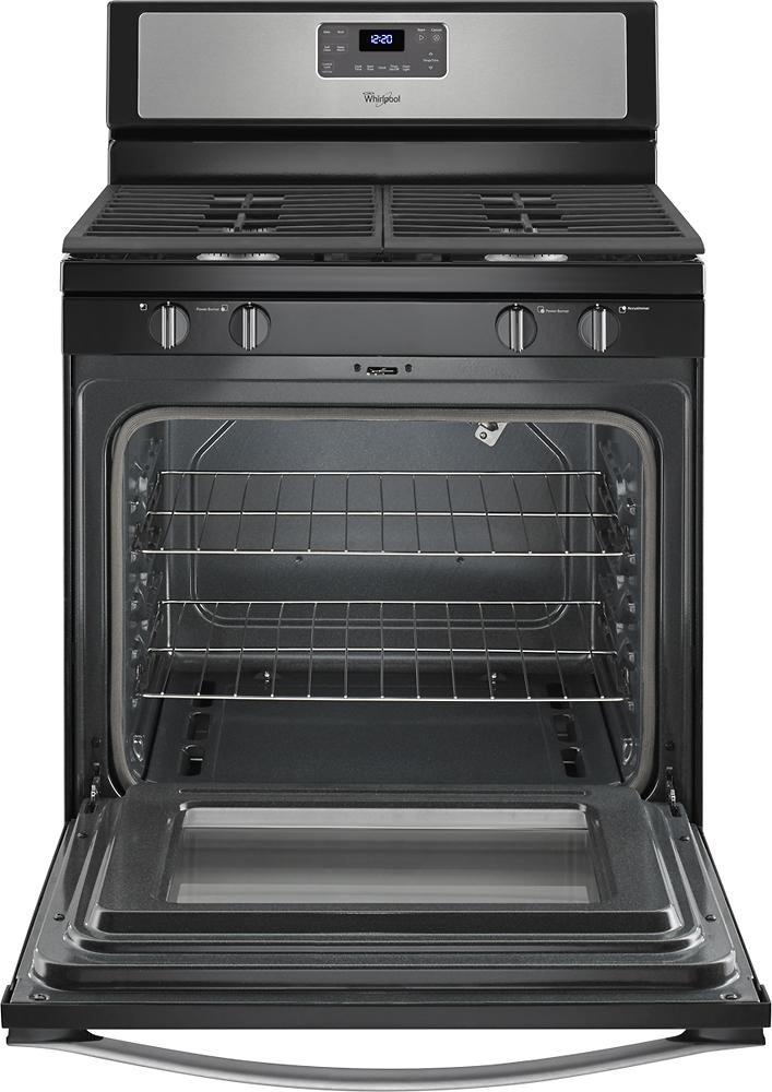 """Whirlpool WFG515S0ES 30"""" Self-Cleaning Freestanding Gas Range Black-on-Stainless Steel"""