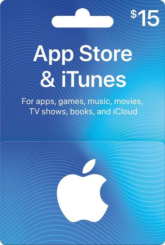 Apple - $15 App Store & iTunes Gift Card One card, millions of ways to enjoy it. Use for apps, games, music, movies, and iCloud