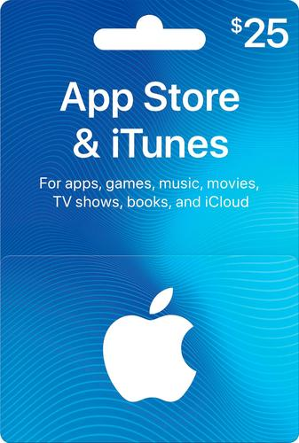 Apple - $25 App Store & iTunes Gift Card One card, millions of ways to enjoy it. Use for apps, games, music, movies, and iCloud