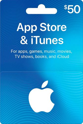 Apple - $50 App Store & iTunes Gift Card One card, millions of ways to enjoy it. Use for apps, games, music, movies, and iCloud