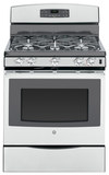 """GE 30"""" Self-Cleaning Freestanding Gas Convection Range Stainless-Steel/Gray JGB697SEHSS"""