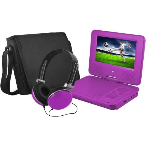 """Ematic EPD707PR 7"""" Portable DVD Player with Swivel Screen Purple"""